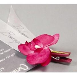 Orchidées en tissu sur pince les 6 orchidées couleur