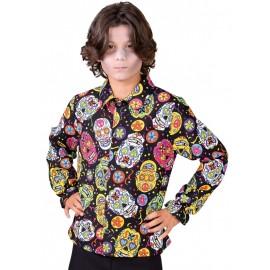 Déguisement chemise Mexican Skull enfant luxe
