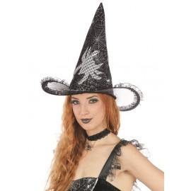 Chapeau sorcière noir femme avec araignée Halloween