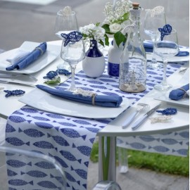 Chemin de table poisson bleu marine coton 3 M