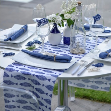 Chemin de table poisson bleu marine coton 3 M