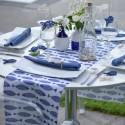 Chemin de table poissons bleu marine coton 3 M