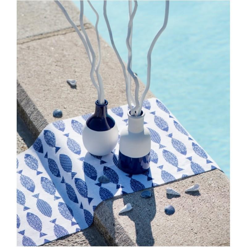 chemin de table poisson bleu marine coton achat chemin. Black Bedroom Furniture Sets. Home Design Ideas