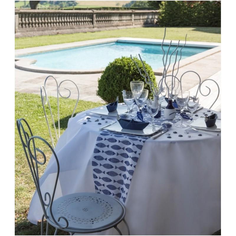 chemin de table poisson bleu marine coton achat chemin de table. Black Bedroom Furniture Sets. Home Design Ideas
