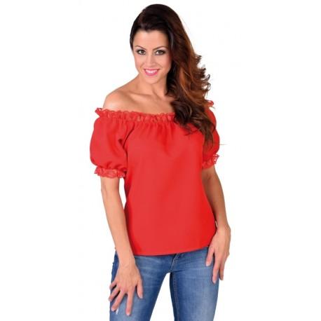 Blouse épaules dénudées rouge femme luxe