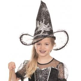 Chapeau sorcière noir fille avec araignée Halloween