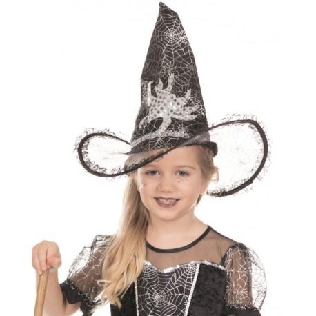 Chapeau sorcière noir fille avec araignée Halloween  Deguise Chapeaux