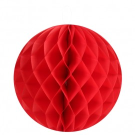 Boule papier alvéolé rouge 20 cm les 2