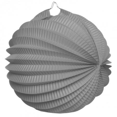 Boule accordéon papier gris 20 cm