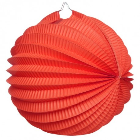 Boule accordéon papier rouge 20 cm