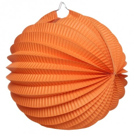 Boule accordéon papier orange 20 cm