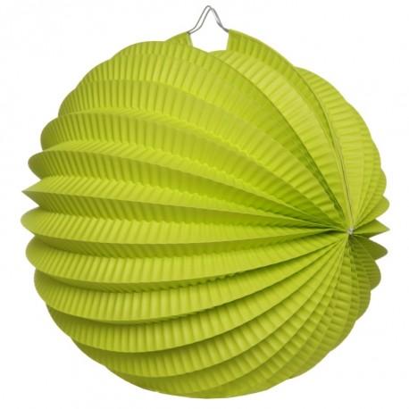 Boule accordéon papier vert 20 cm