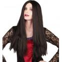 Perruque longue noire femme Halloween