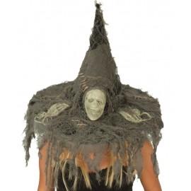 Chapeau de sorcière crâne femme avec mains de squelette