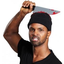 Bonnet avec couteau ensanglanté Halloween adulte