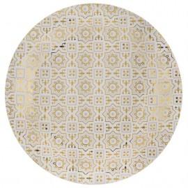 Assiette carton carreaux de ciment or 22.5 cm les 10