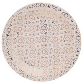 Assiette carton carreaux de ciment cuivre 22.5 cm les 10