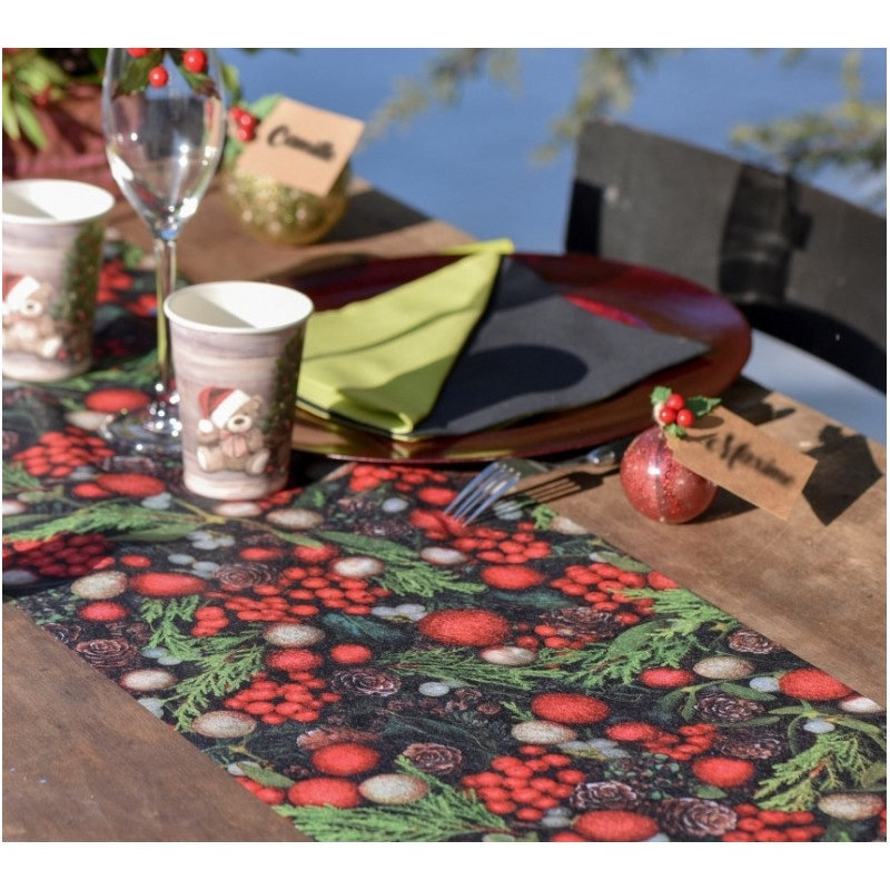 Chemin de table houx de no l intiss achat chemin de - Set de table intisse ...