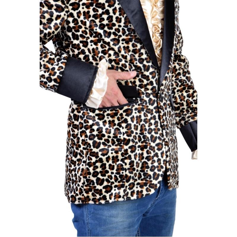 Déguisement Veste léopard homme : Veste Colbert léopard