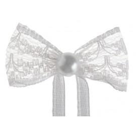 Mini noeud dentelle blanche les 10