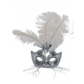 Loup vénitien argent adulte avec plumes