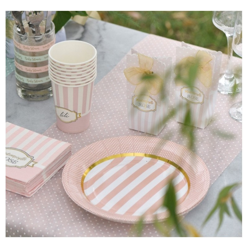 Chemin de table plumetis rose intiss 5 m chemin de table - Set de table intisse ...