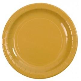 Assiette carton laqué or 23 cm les 10