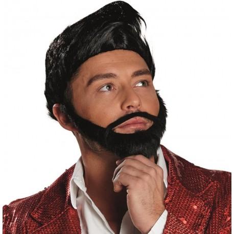 Perruque noire homme avec barbe luxe