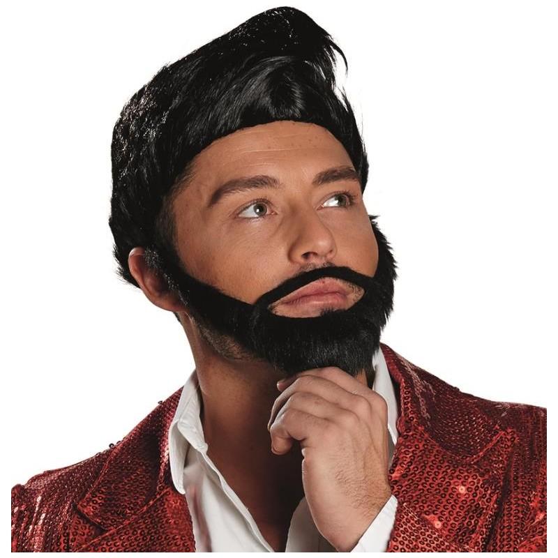 perruque noire homme avec barbe perruque courte perruque fashion. Black Bedroom Furniture Sets. Home Design Ideas