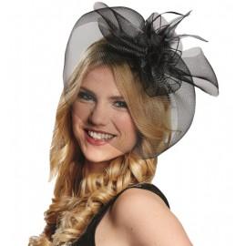 Chapeau Bibi noir à voilette femme