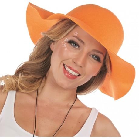 Chapeau hippie fluo orange femme