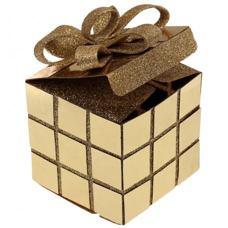 Boîte cube de Noël or