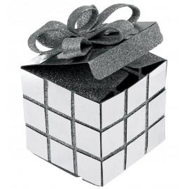Boîte cube de Noël argent