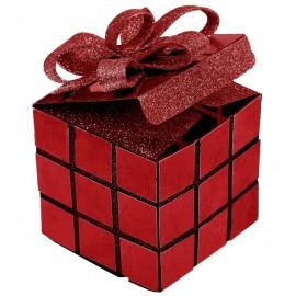 Boîte cube de Noël rouge