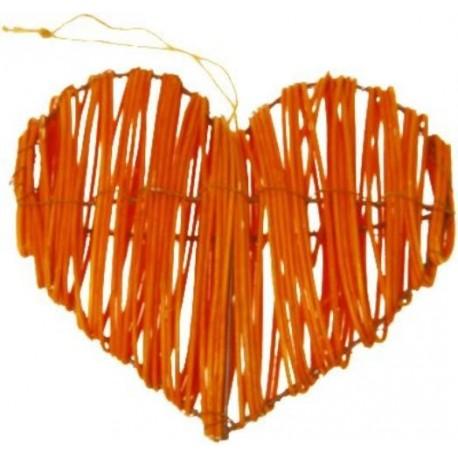 Coeurs Orange en Rotin