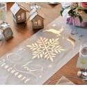 Chemin de table Noël enchanté or coton naturel 3 M