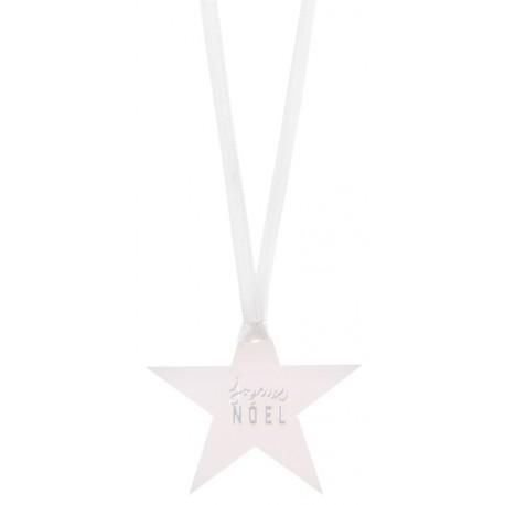 Etiquette étoile Joyeux Noël argent avec ruban les 12