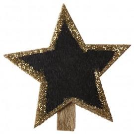 Ardoise étoile pailletée sur pince or les 4