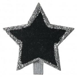 Ardoises étoile argent pailletée sur pince les 4