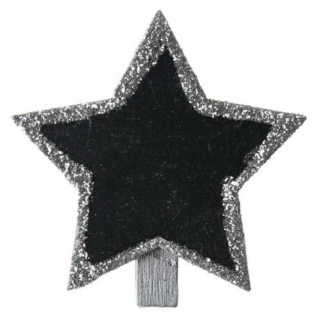 Ardoise étoile argent pailletée sur pince les 4