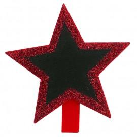 Ardoises étoile pailletée sur pince rouge les 4