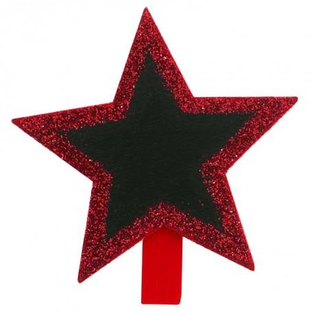 Ardoise étoile pailletée sur pince rouge les 4