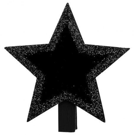 Ardoise étoile noire pailletée sur pince les 4