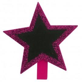 Ardoises étoile fuchsia pailletée sur pince les 4