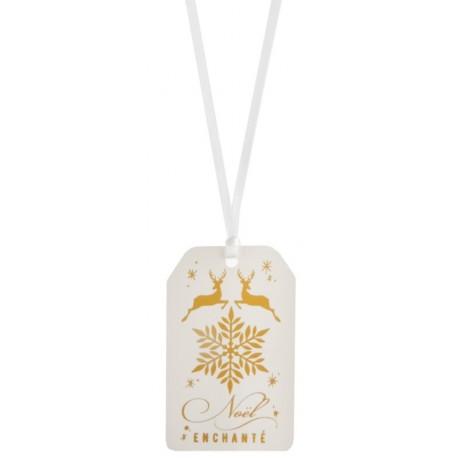 Etiquette Noël enchanté avec ruban les 12