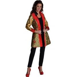 Déguisement manteau chic or rouge à sequin femme luxe