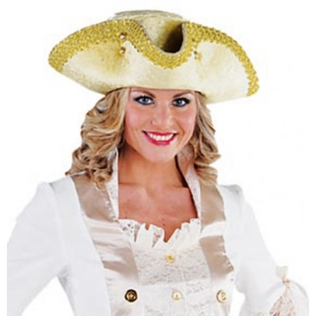 Chapeau tricorne or femme luxe
