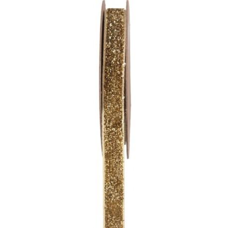 Ruban velours or pailleté autocollant 10 mm x 1 M