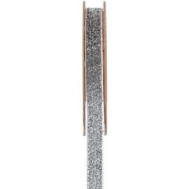Ruban velours argent pailleté autocollant 10 mm x 1 M