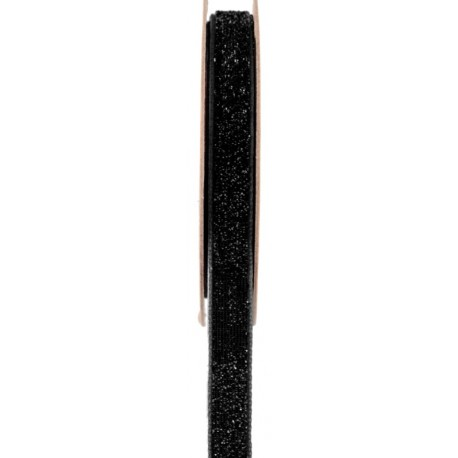 Ruban velours noir pailleté autocollant 10 mm x 1 M